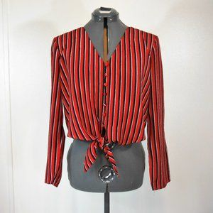 NWOT One Clothing Red Striped Tie Waist Blouse